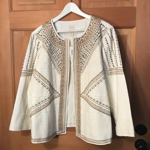 Chico's embellished Ecru embroidered linen jacket